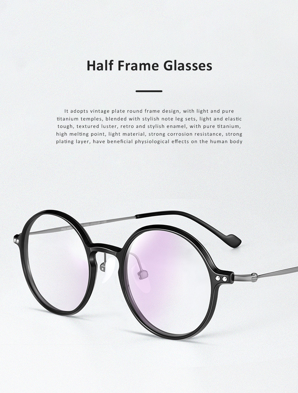 Thin Frame Flat Mirror Glasses Metal Fashion Eyeglass Round Frame Personality Trend Eye Glass Retro Glasses 0
