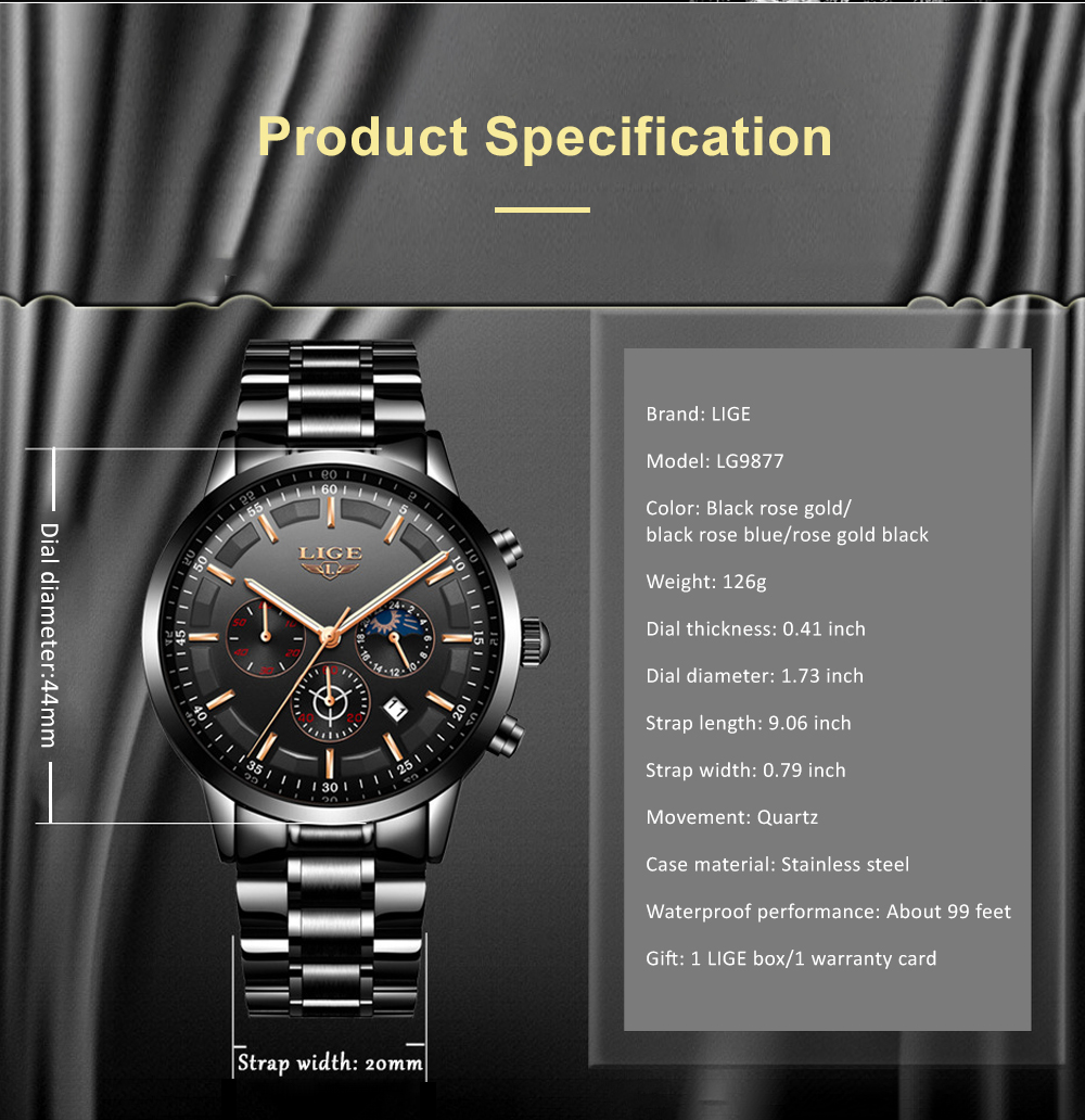 Mens Business Stainless Steel Wristwatch Waterproof Casual Quartz Watch with Luminous Date Chronograph 4