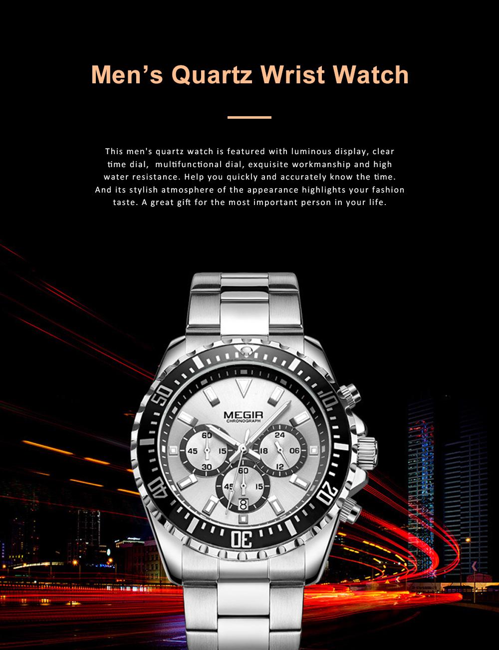Men's Multifunctional Wrist Watch with Luminous Display and Quartz Movement Fashion Waterproof Watch 0