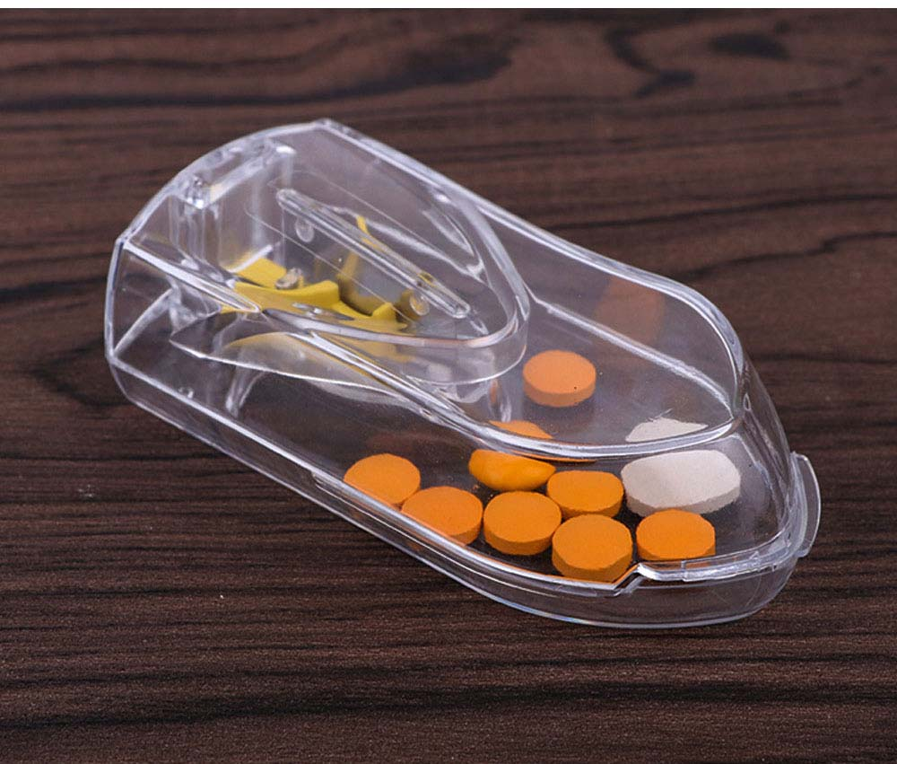 Pill and Tablet Cutter with Room for Storing Medication, Transparent Pill Cutter with Stainless Steel Blade 5