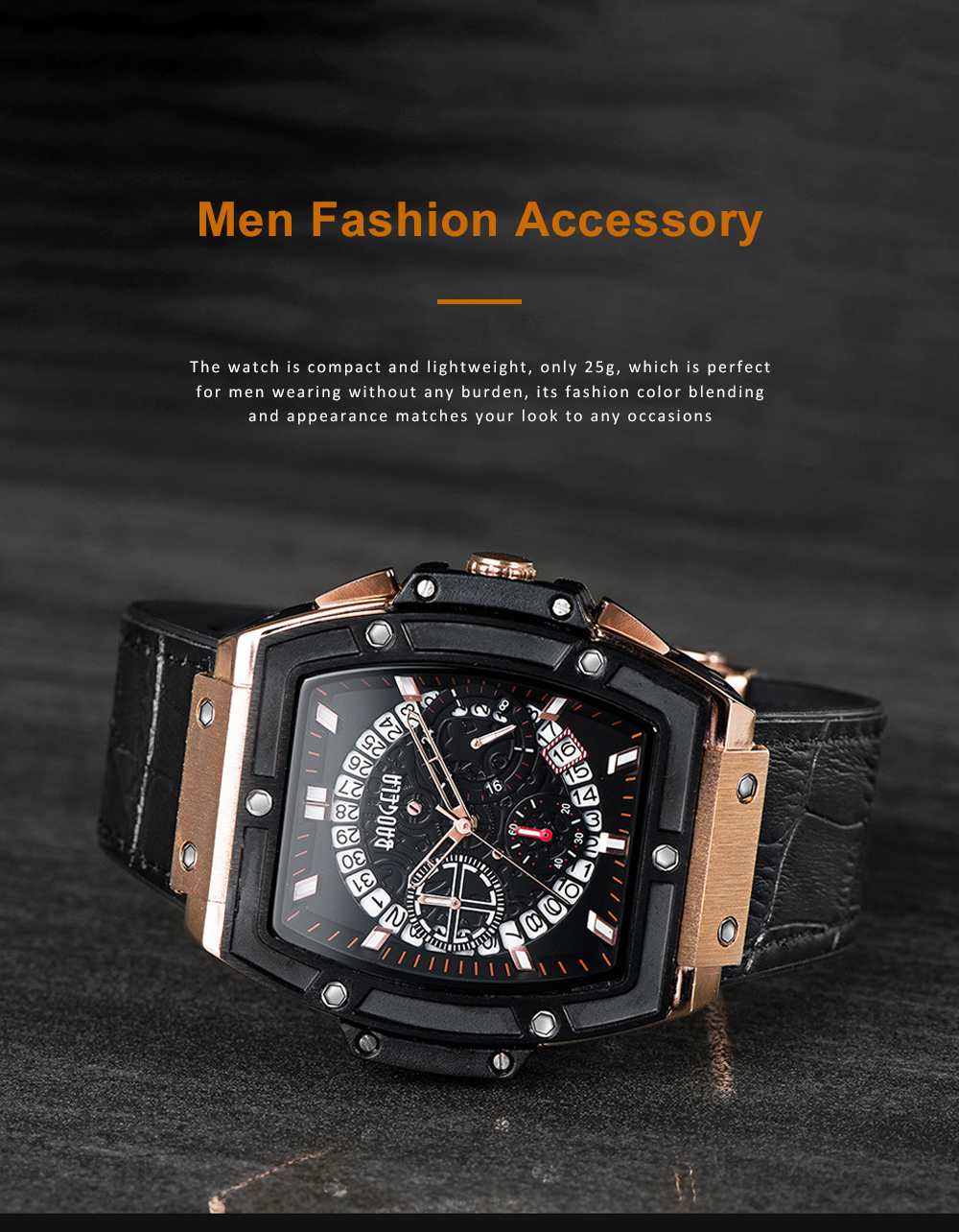 Multi-functional Waterproof Men Business Quartz Stainless Steel Leather Silicone Outdoor Sports Watch Trendy Large-dial Men's Watch 4