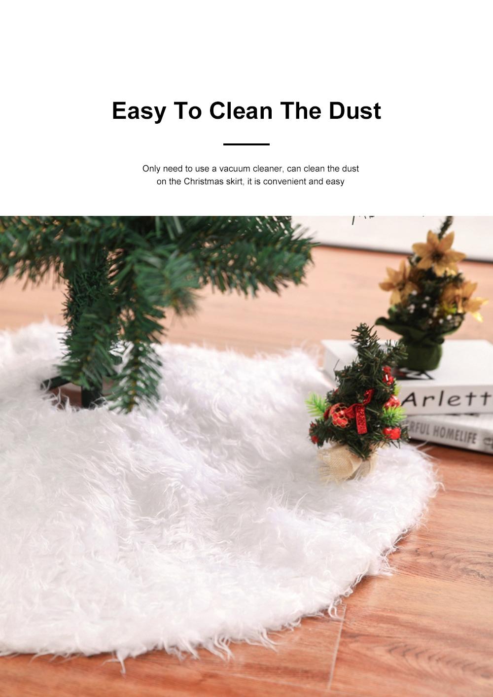 Long Snow Plush Christmas Tree Skirt Non Wovens Cotton Golden Ruffle Edge Base Floor Mat Cover New Year Xmas Party Decoration 3