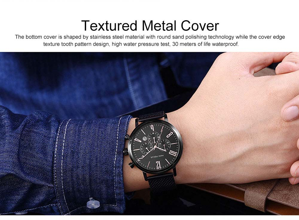 Multifunctional Smart Electronic Men Watch, Three Eyes & Six Stitches Calendar Waterproof Watch with Wear Resistant Crystal Watch Mirror 9