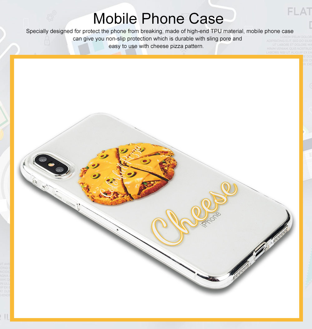 Mobile Phone Case with Cheese Pizza Pattern & Transparent Edge, Precise Audio Charging Hole Location Phone Shell for iPhone 6s Plus, iPhone 7 8, iPhone 7/8 plus, iPhone X/XS MAX, iPhone XR 0