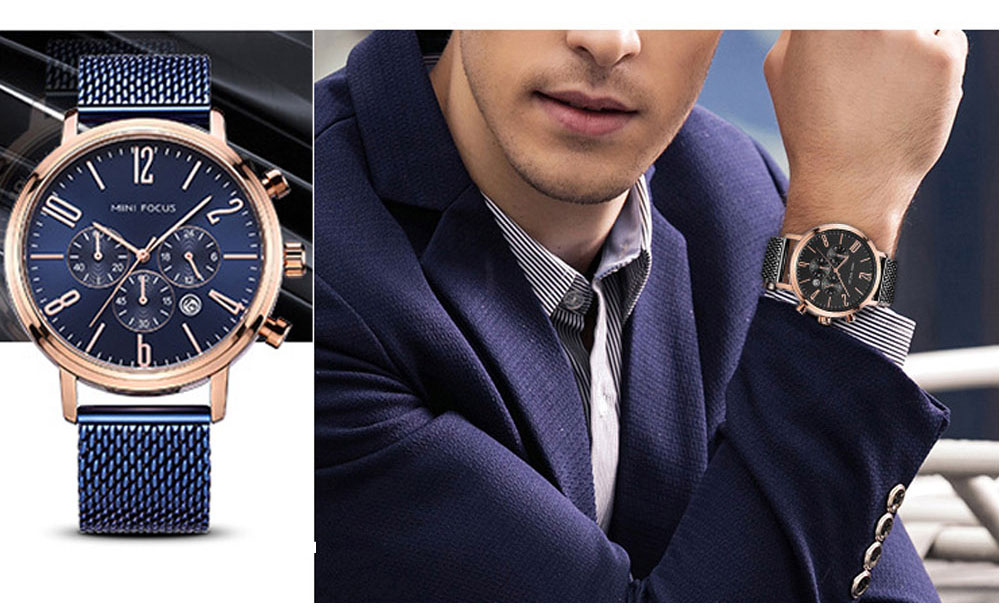 Multifunctional Smart Electronic Men Watch, Three Eyes & Six Stitches Calendar Waterproof Watch with Wear Resistant Crystal Watch Mirror 7