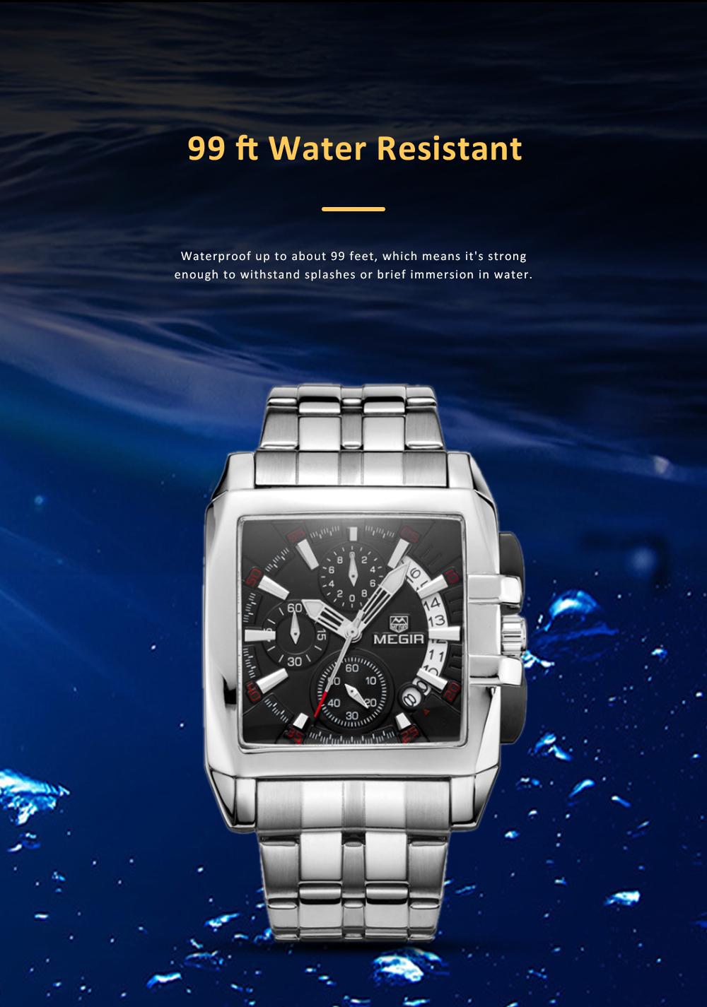 Men's Sports Watch Square Quartz Movement 3ATM Waterproof and Multi Function Wrist Watch 8