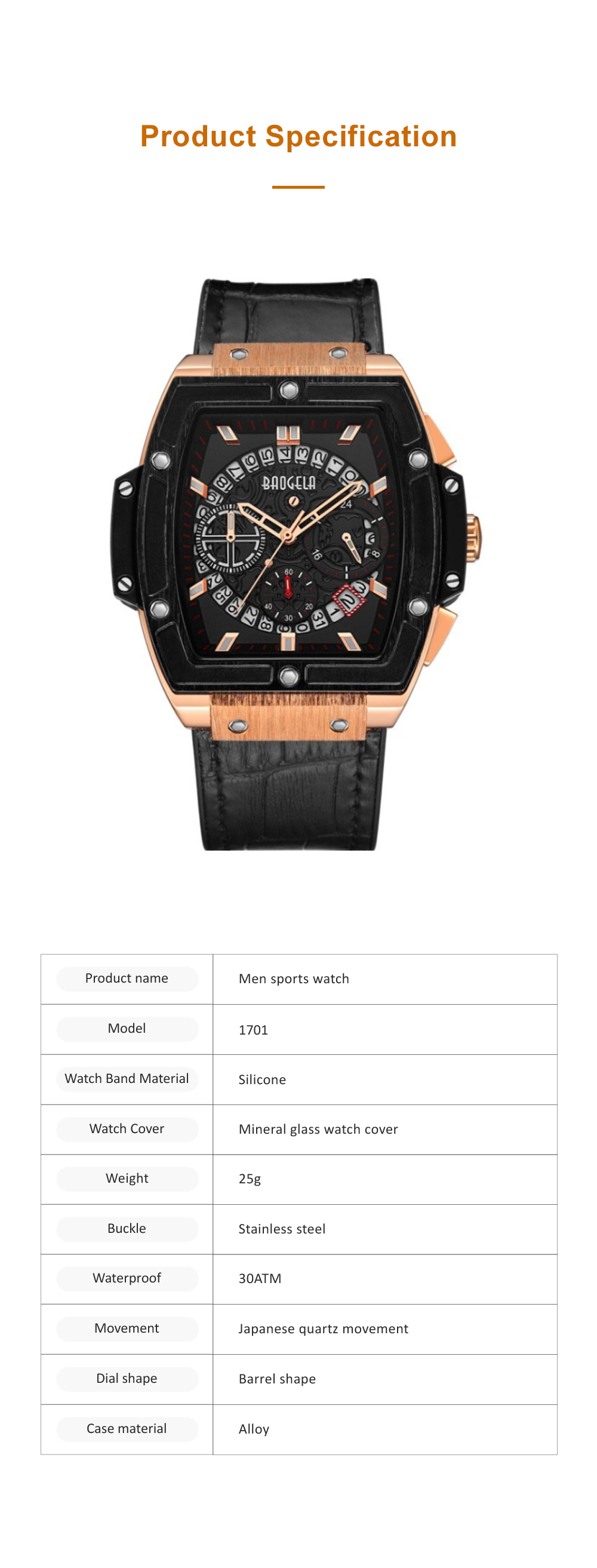 Multi-functional Waterproof Men Business Quartz Stainless Steel Leather Silicone Outdoor Sports Watch Trendy Large-dial Men's Watch 6