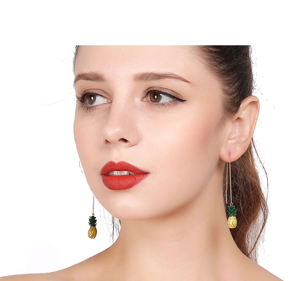 Retro Ethnic Style Ear Stud & Pendant & Necklace with Alloy Dripping Oil & Pineapple Pendant, Best Gift for Ladies 7