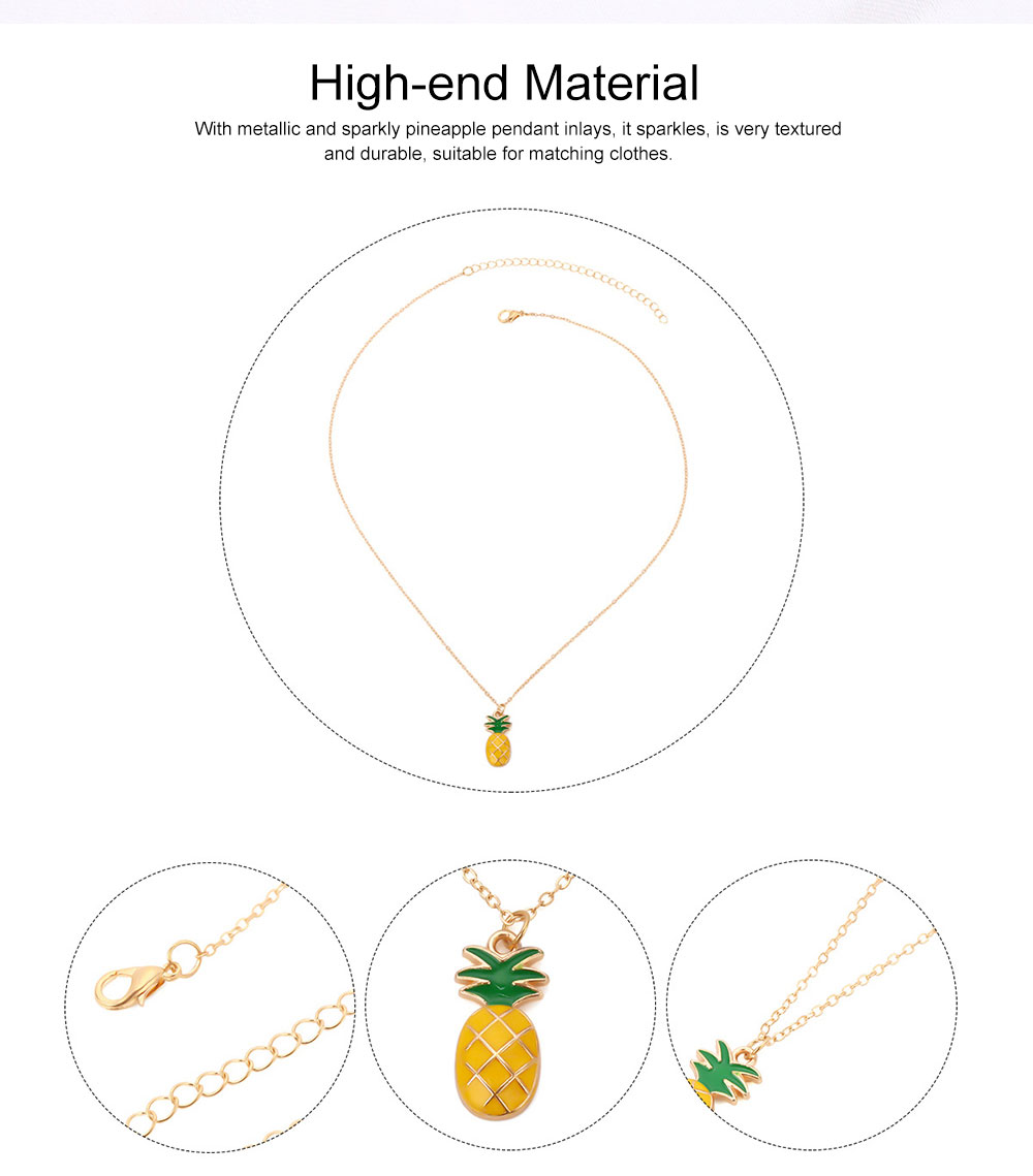 Retro Ethnic Style Ear Stud & Pendant & Necklace with Alloy Dripping Oil & Pineapple Pendant, Best Gift for Ladies 1