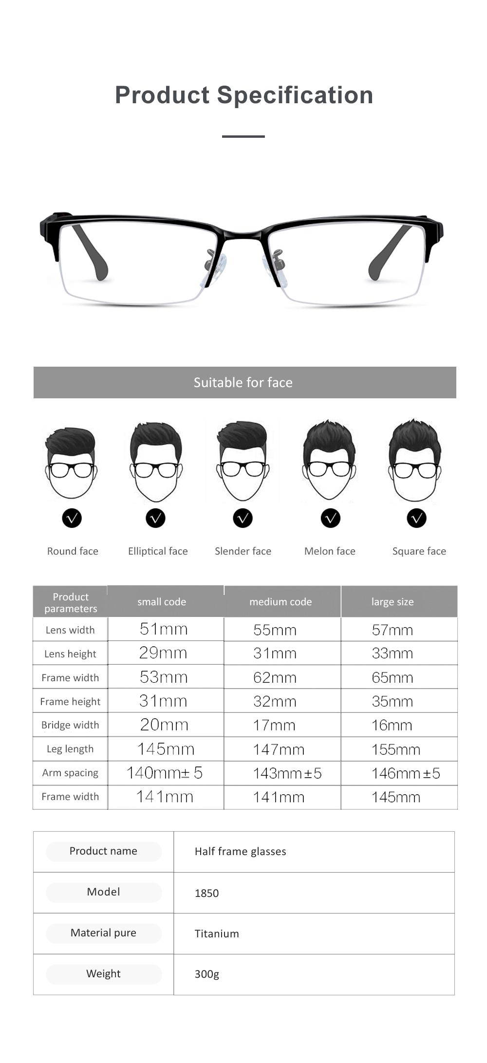 Plating Eyewear High Quality Men Business Half Frame 100% Pure Titanium Frame Glasses Optical Frame 5