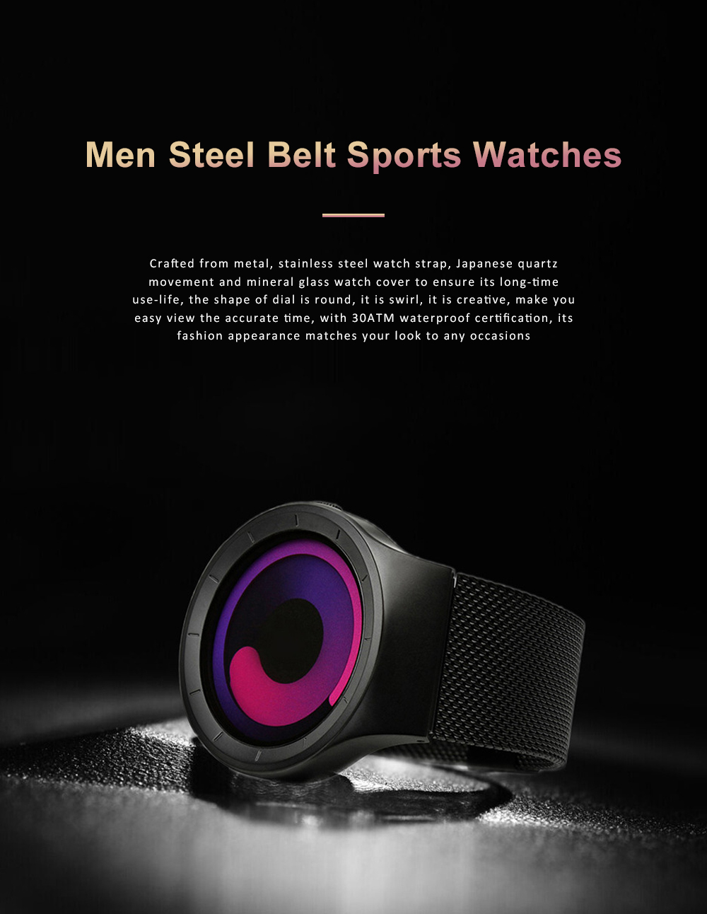 New Design Round Purple Swirl Dial Waterproof Steel Belt Male Watch Personality Fashion Men Sport Quartz Watch 0