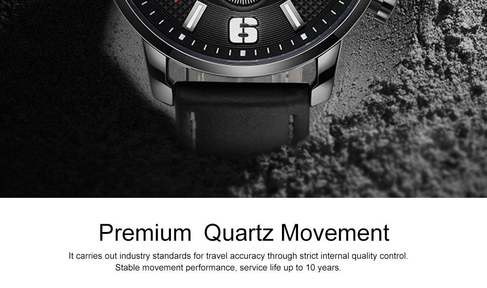Smart Electronic Watch with Multifunctional Rotary Calendar, 30M Waterproof Males Watch with Wear Resistant Crystal Watch Mirror Genuine Leather Wristband 1