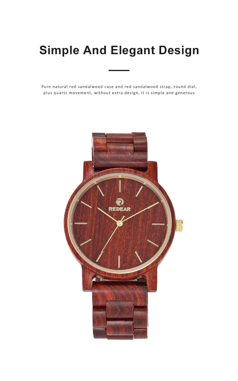 Men Women Watches Elegant Sandal Wood Band Combined Stainless Steel Quartz Wrist Bamboo Watch With Waterproof Wristwatch For Ladies Girls Men 4