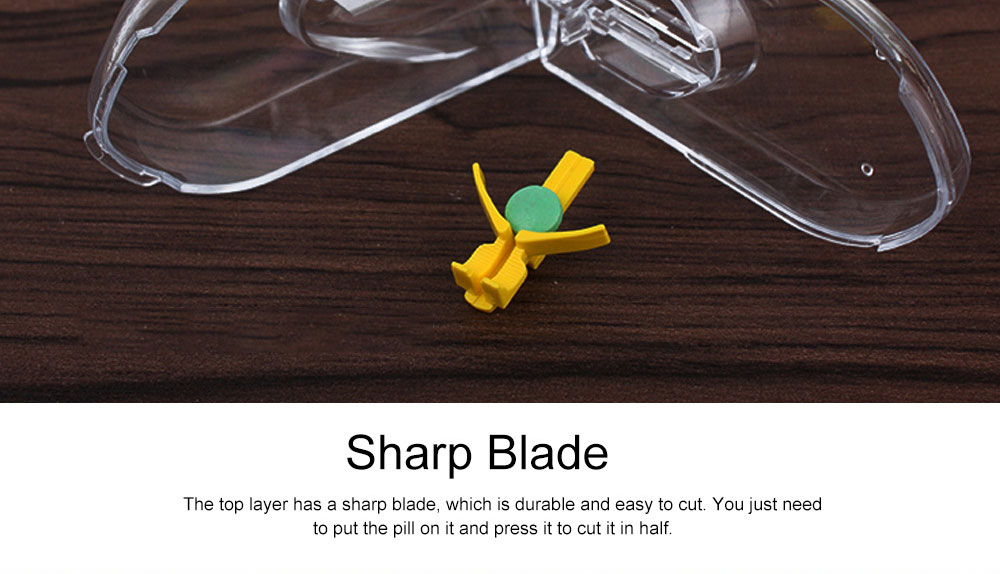 Pill and Tablet Cutter with Room for Storing Medication, Transparent Pill Cutter with Stainless Steel Blade 2