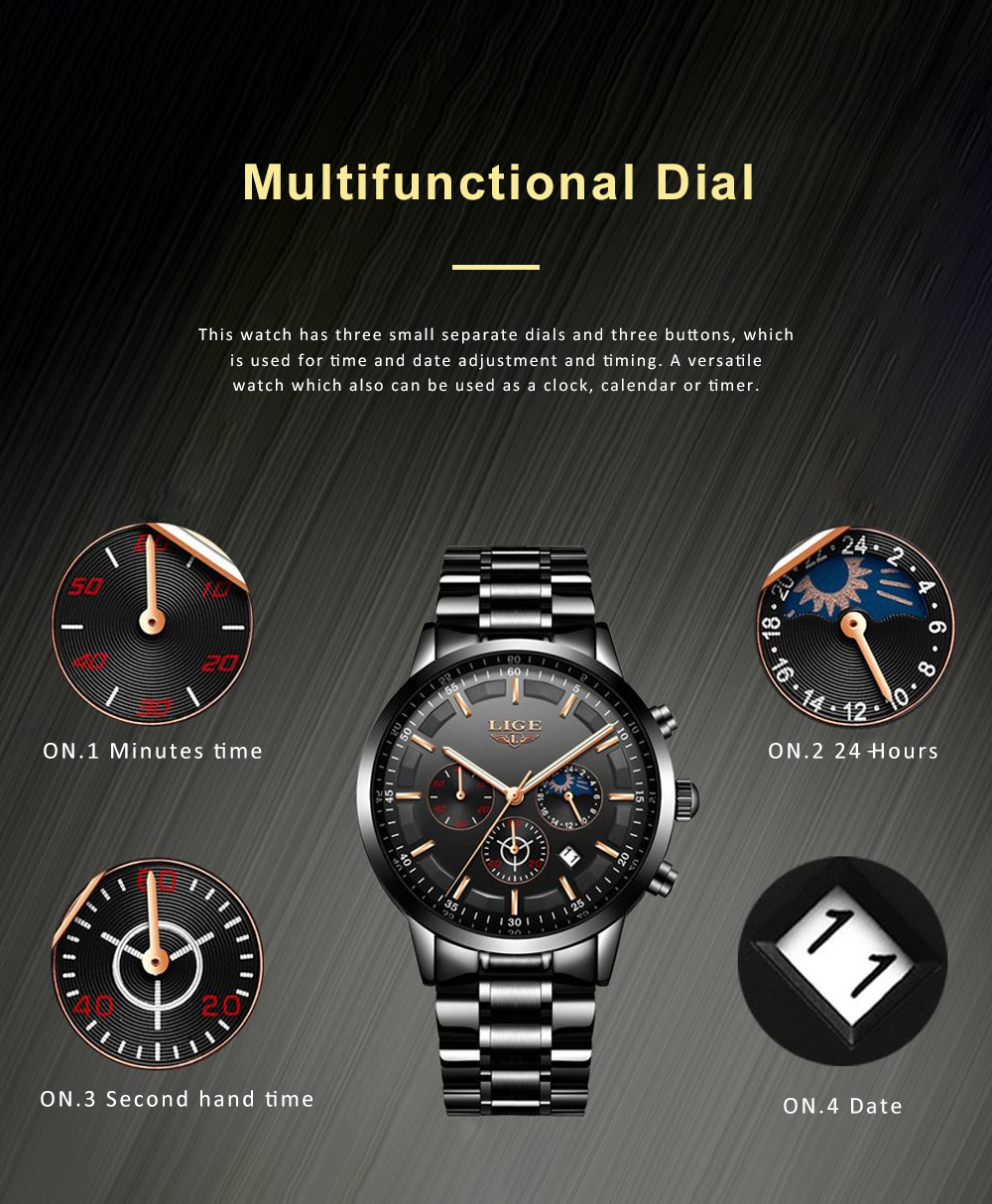 Mens Business Stainless Steel Wristwatch Waterproof Casual Quartz Watch with Luminous Date Chronograph 1