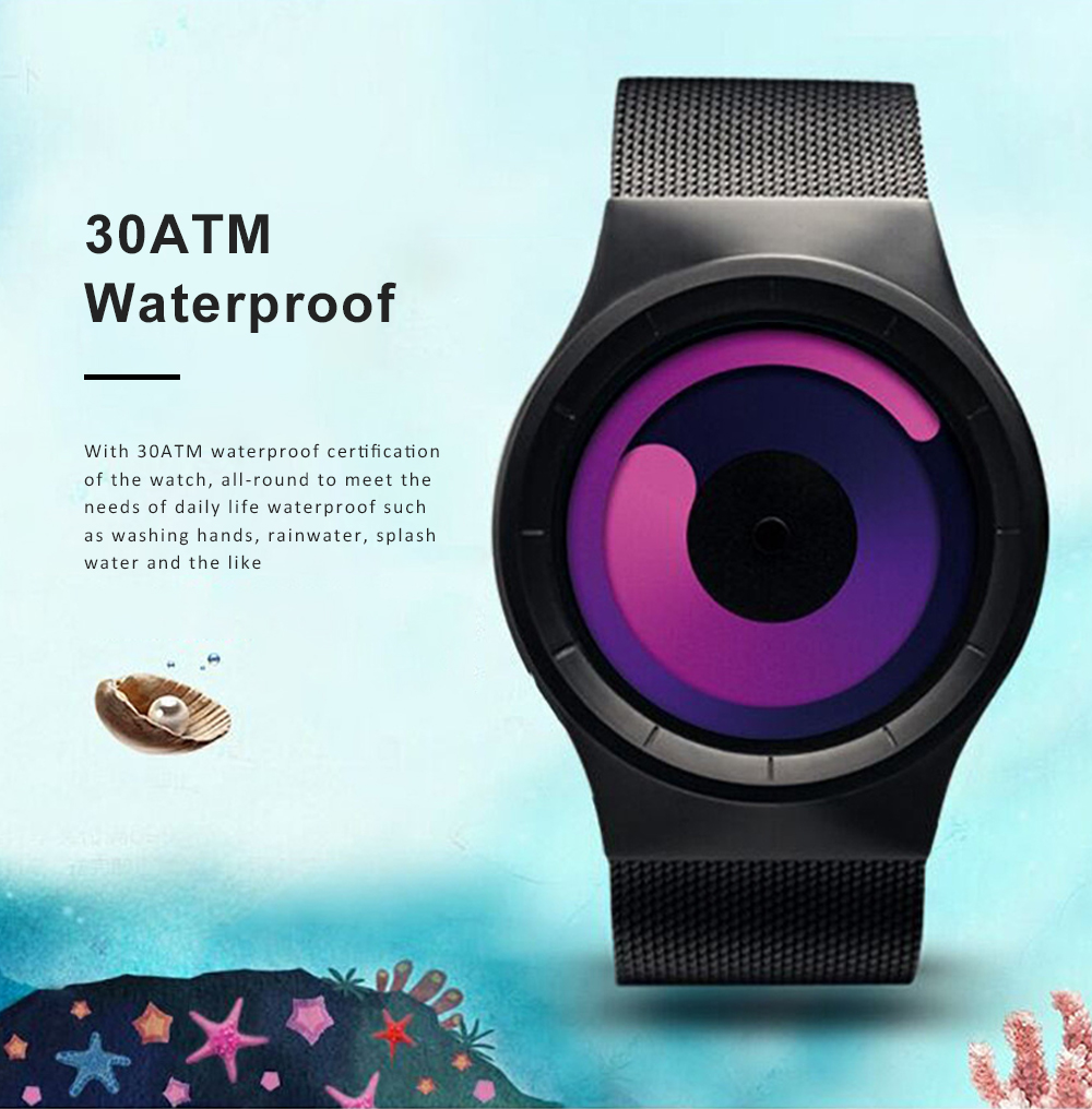 New Design Round Purple Swirl Dial Waterproof Steel Belt Male Watch Personality Fashion Men Sport Quartz Watch 4