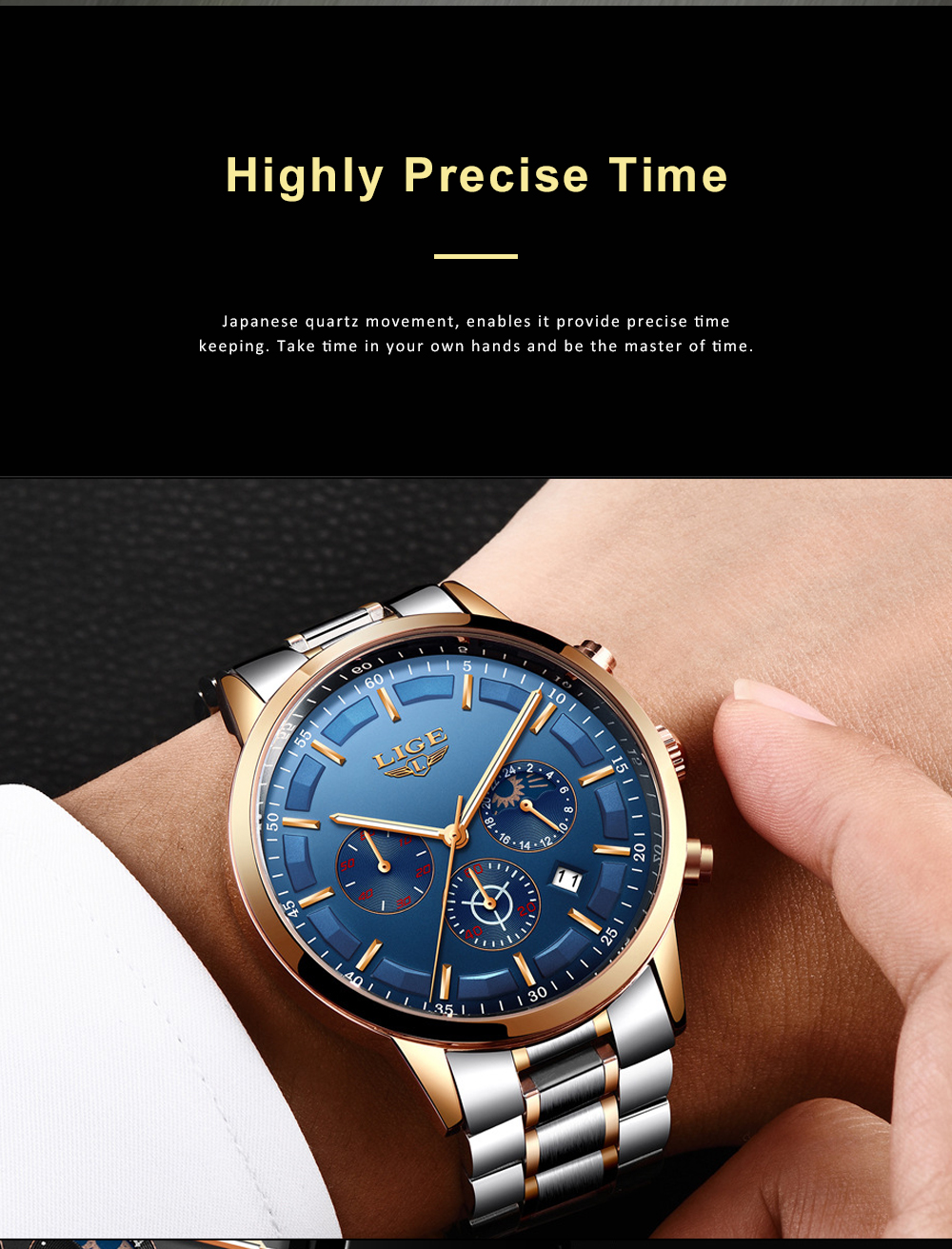 Mens Business Stainless Steel Wristwatch Waterproof Casual Quartz Watch with Luminous Date Chronograph 2