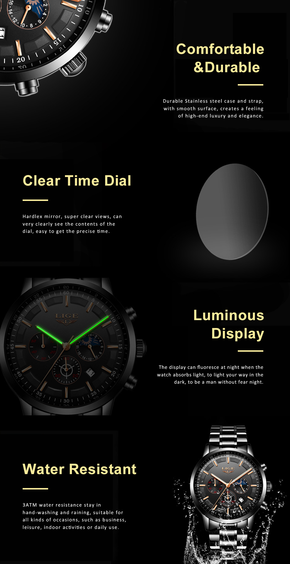 Mens Business Stainless Steel Wristwatch Waterproof Casual Quartz Watch with Luminous Date Chronograph 3