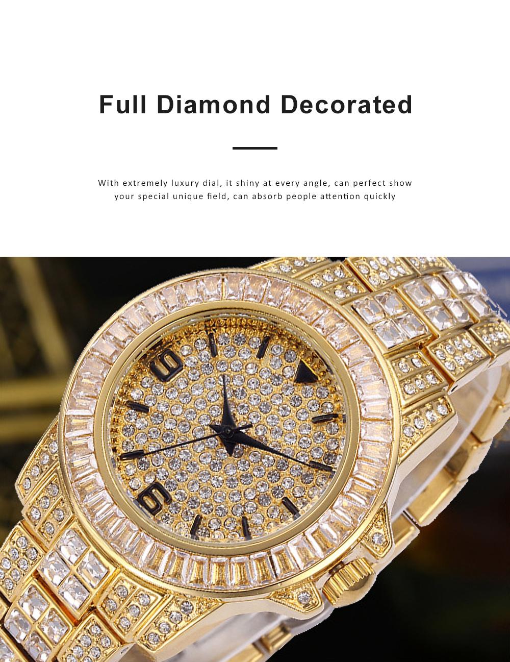 New Men Fashion Exquisite Waterproof Diamond Date Quartz Watch Gold Stainless Steel Business Luxury Mens Watches 5