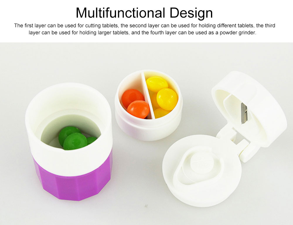 3 In 1 Pill Cutter Crusher and Storage Multi Function Pill Splitter Cutter Powder Organizer for Daily or Travel Use 4