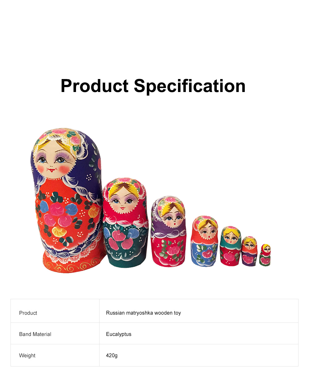 Matryoshka Dolls Nesting Stacking Wooden Russian Toys with Flower Ornament Hand Painted Wood Souvenir Folk Art Crafts 6