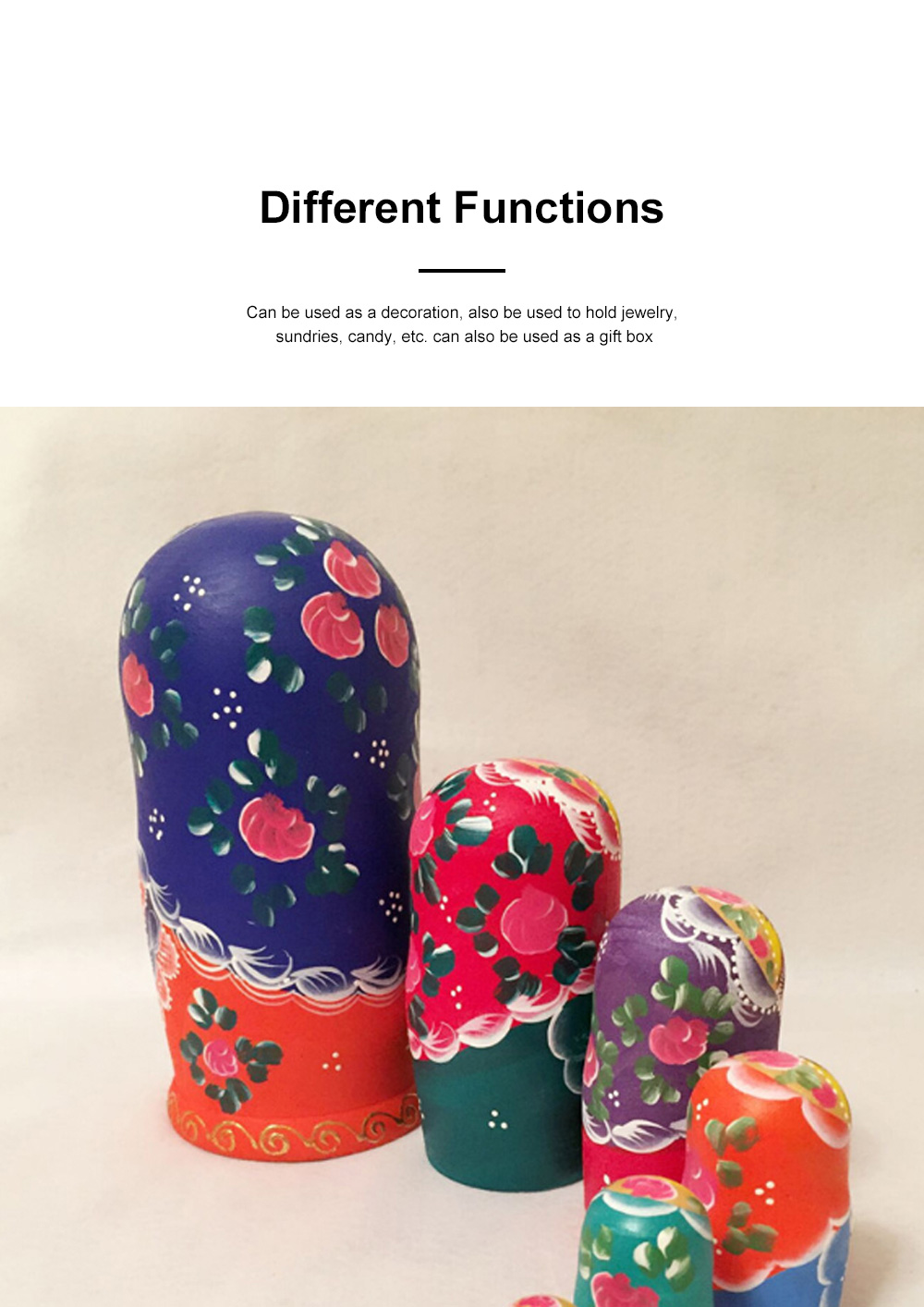 Matryoshka Dolls Nesting Stacking Wooden Russian Toys with Flower Ornament Hand Painted Wood Souvenir Folk Art Crafts 2