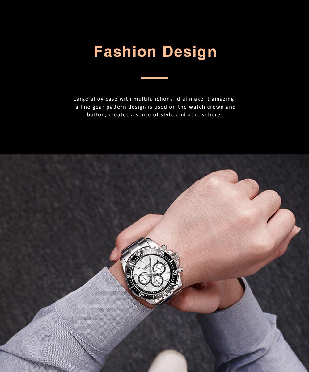 Men's Multifunctional Wrist Watch with Luminous Display and Quartz Movement Fashion Waterproof Watch 7