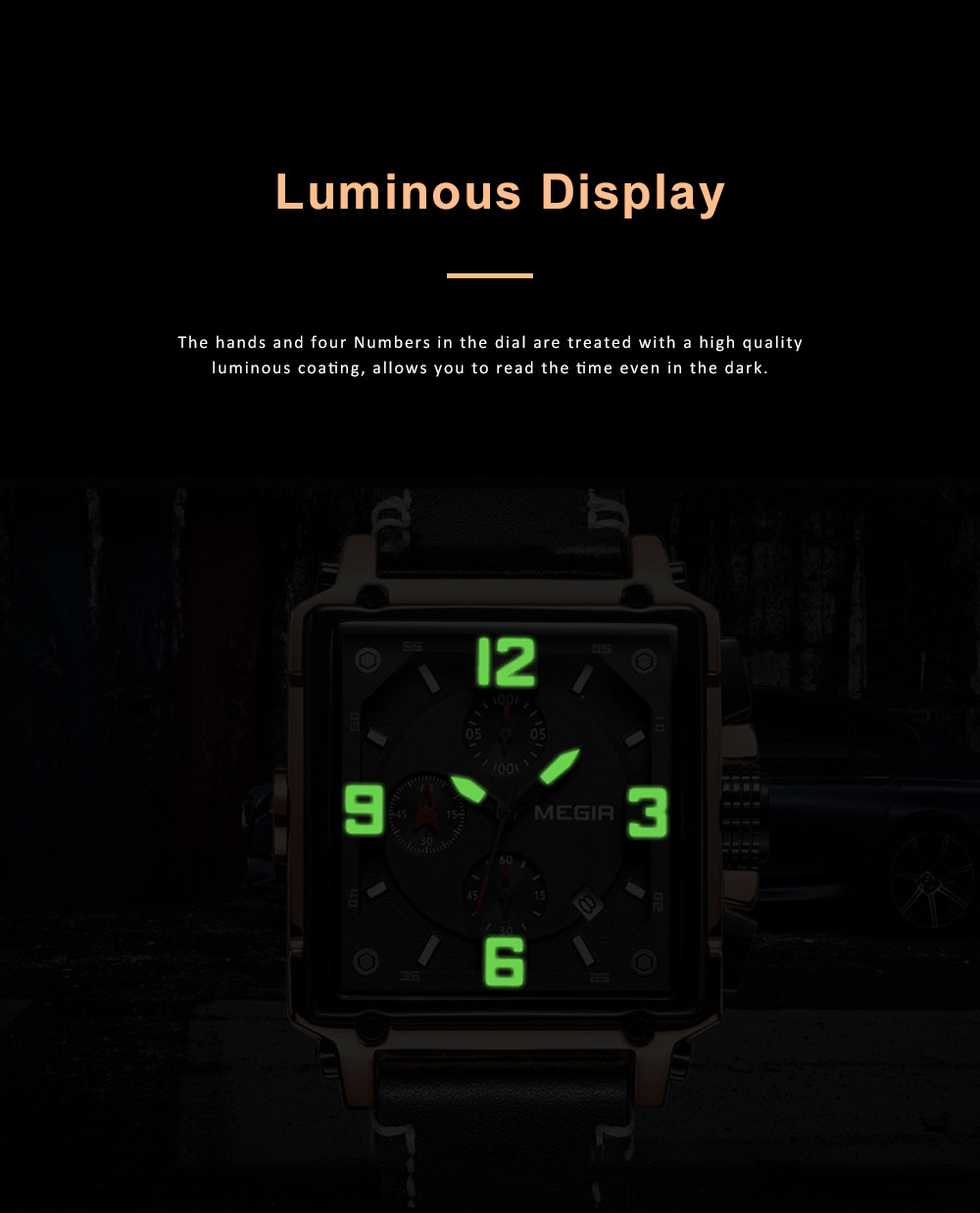 Retro Oblong Watch for Men with Quartz Movement and Leather Strap Waterproof Wrist Watch with Luminous Display 3