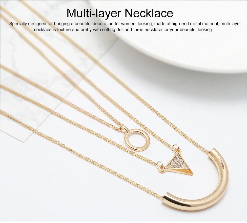 Retro Ethnic Style Exaggerated Multi-layer Necklace Geometric Set Drill Multi-element Clavicle Chain for Ladies 0