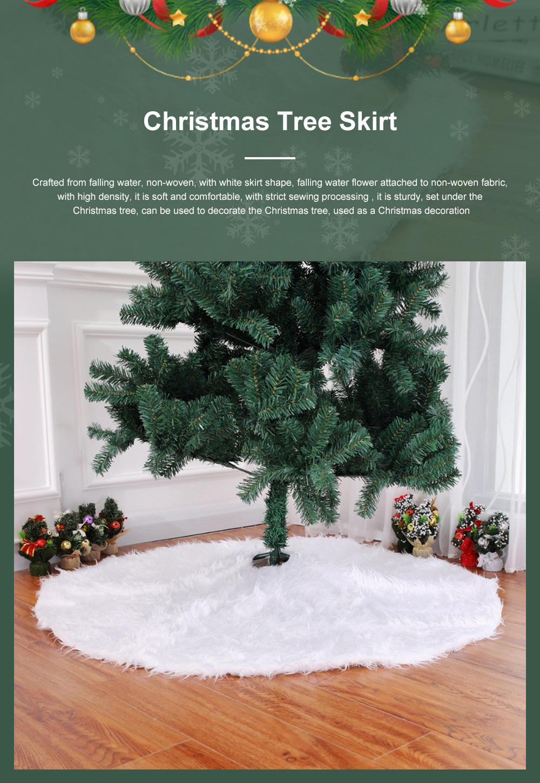 Long Snow Plush Christmas Tree Skirt Non Wovens Cotton Golden Ruffle Edge Base Floor Mat Cover New Year Xmas Party Decoration 0