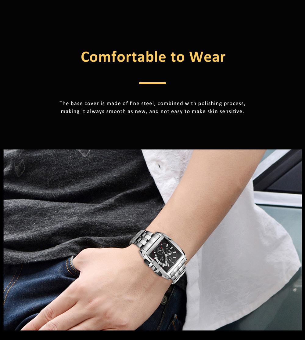 Men's Sports Watch Square Quartz Movement 3ATM Waterproof and Multi Function Wrist Watch 7