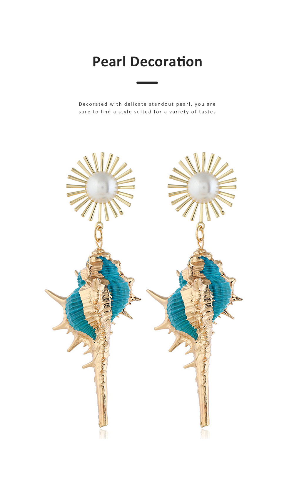 Stylish Seashell Dangle Earrings Conch Design Charming Jewelry Great Gift for Women 3