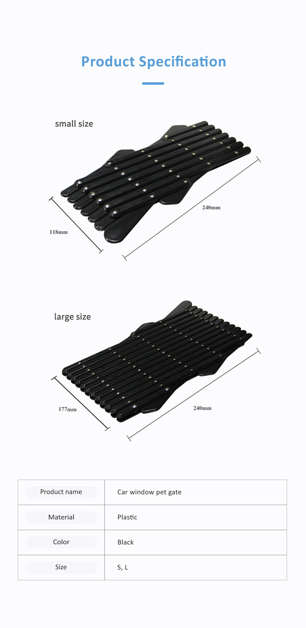 Expandable Car Window Gate Vent Universal Window Ventilation Safe Guard Grill for Pet Kids 6
