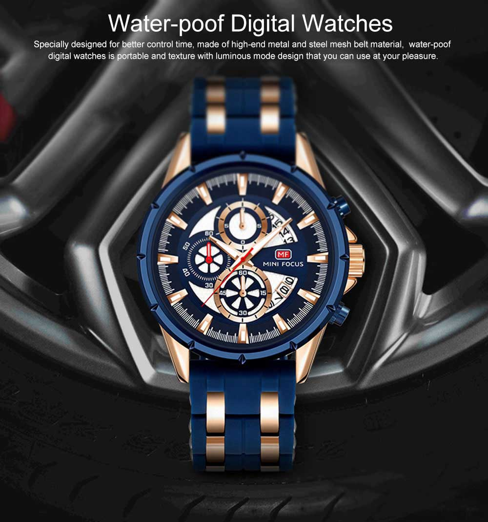 Classic Smart Electronic Watch with Multifunctional Rotary Calendar & Luminous Mode, Waterproof Watch with Wear Resistant Crystal Watch Mirror 0