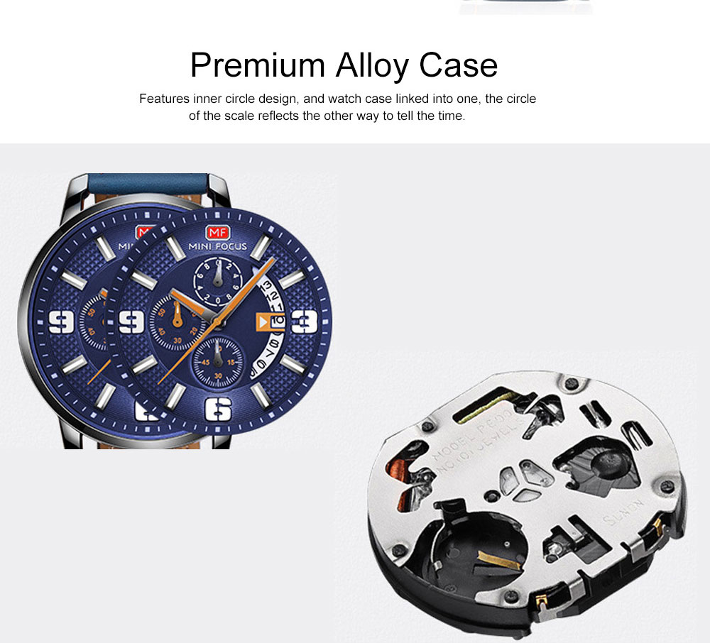 Smart Electronic Watch with Multifunctional Rotary Calendar, 30M Waterproof Males Watch with Wear Resistant Crystal Watch Mirror Genuine Leather Wristband 4