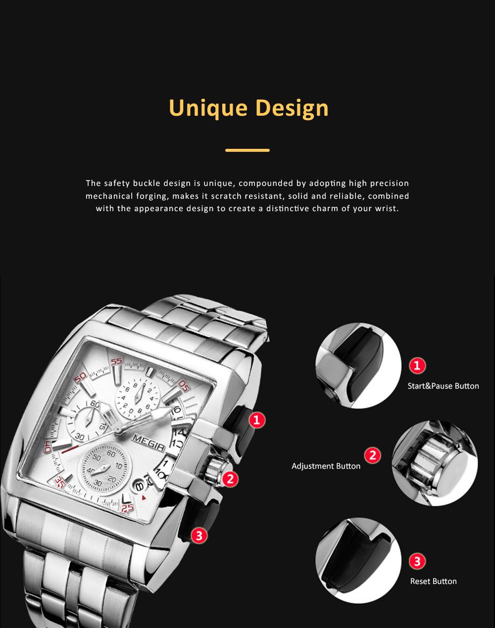 Men's Sports Watch Square Quartz Movement 3ATM Waterproof and Multi Function Wrist Watch 5