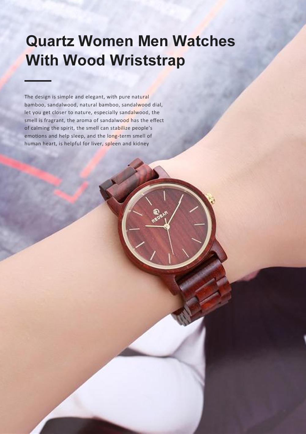 Men Women Watches Elegant Sandal Wood Band Combined Stainless Steel Quartz Wrist Bamboo Watch With Waterproof Wristwatch For Ladies Girls Men 0