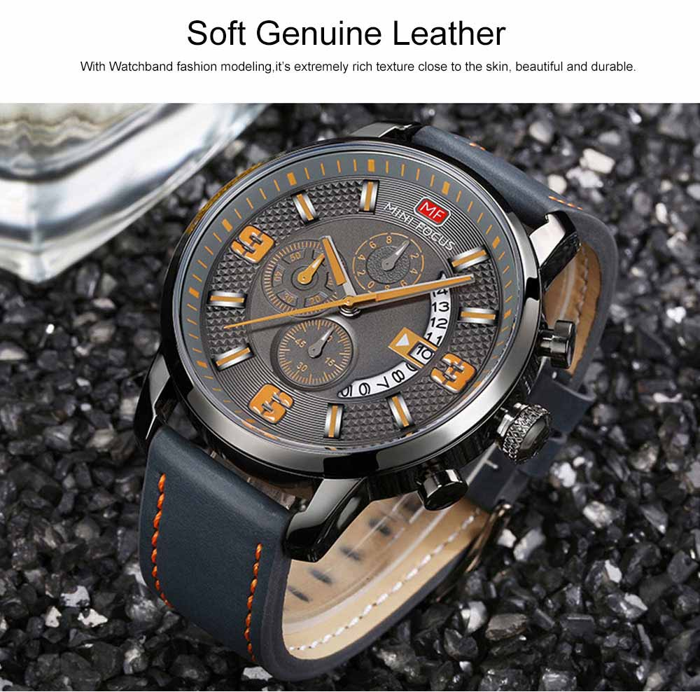 Smart Electronic Watch with Multifunctional Rotary Calendar, 30M Waterproof Males Watch with Wear Resistant Crystal Watch Mirror Genuine Leather Wristband 7