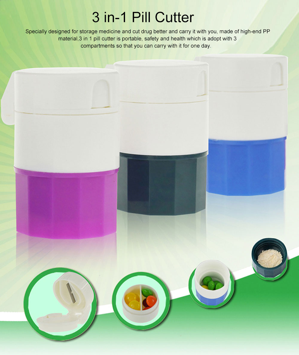 3 In 1 Pill Cutter Crusher and Storage Multi Function Pill Splitter Cutter Powder Organizer for Daily or Travel Use 0