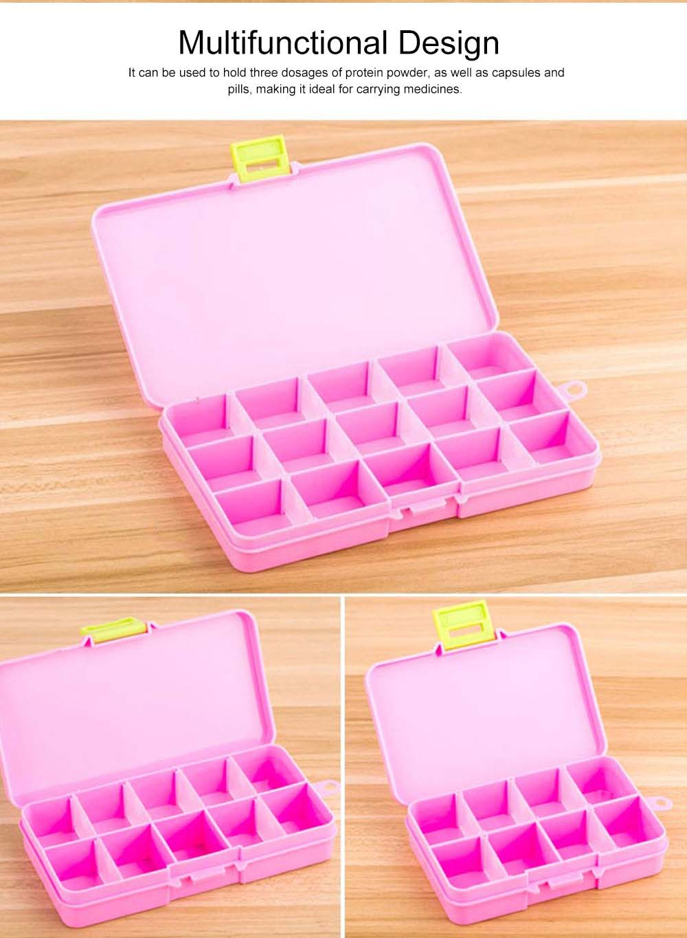 5 Day Weekly Pill Organizer, 15 Slots Large Portable Weekly Pill Case with Movable Partition for Travel Use 3