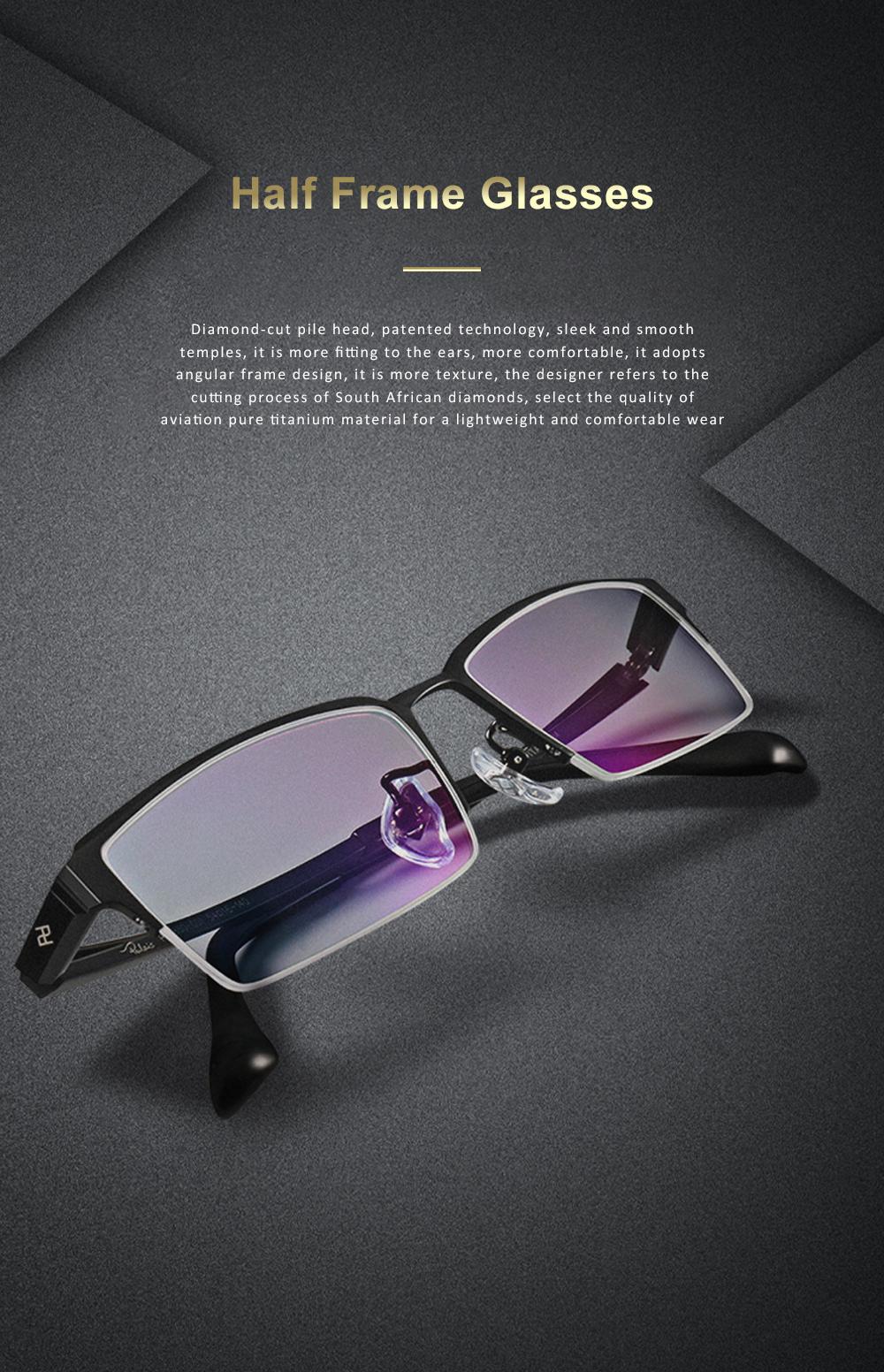 Plating Eyewear High Quality Men Business Half Frame 100% Pure Titanium Frame Glasses Optical Frame 0