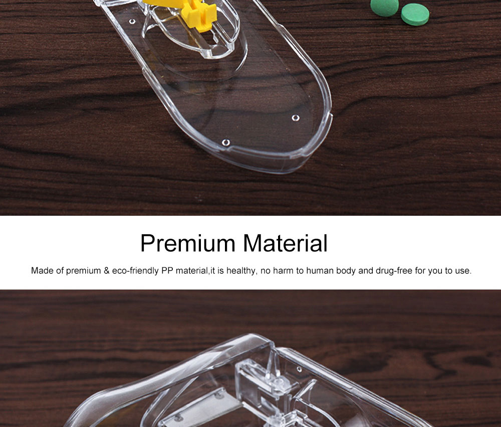 Pill and Tablet Cutter with Room for Storing Medication, Transparent Pill Cutter with Stainless Steel Blade 1