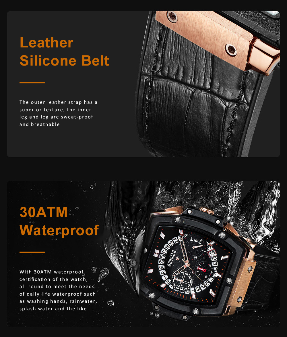 Multi-functional Waterproof Men Business Quartz Stainless Steel Leather Silicone Outdoor Sports Watch Trendy Large-dial Men's Watch 3