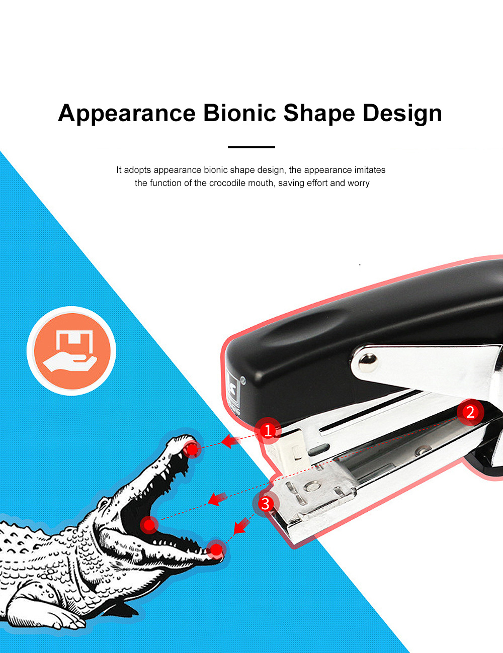 Office Stationery Hand-held Pliers Labor-saving Stapler Binding Machine & School Supplies Book Manual Stapler Desktop Paper 2