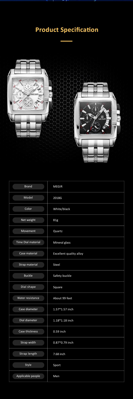Men's Sports Watch Square Quartz Movement 3ATM Waterproof and Multi Function Wrist Watch 9