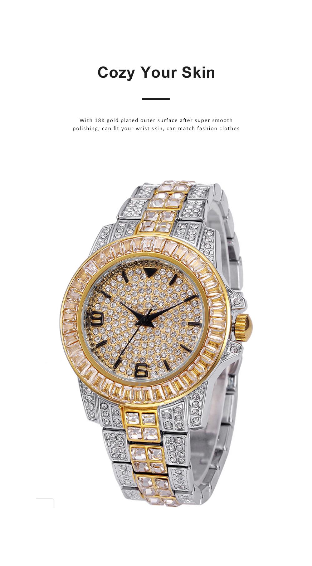 New Men Fashion Exquisite Waterproof Diamond Date Quartz Watch Gold Stainless Steel Business Luxury Mens Watches 3