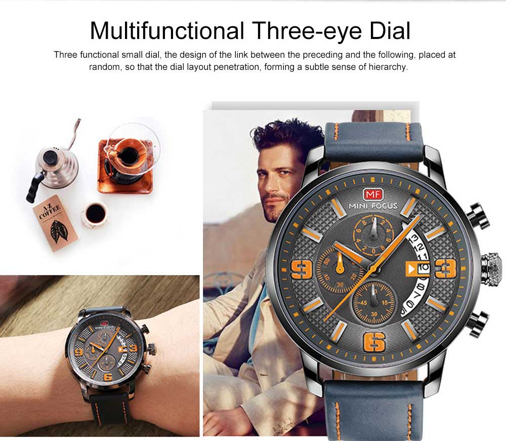 Smart Electronic Watch with Multifunctional Rotary Calendar, 30M Waterproof Males Watch with Wear Resistant Crystal Watch Mirror Genuine Leather Wristband 3