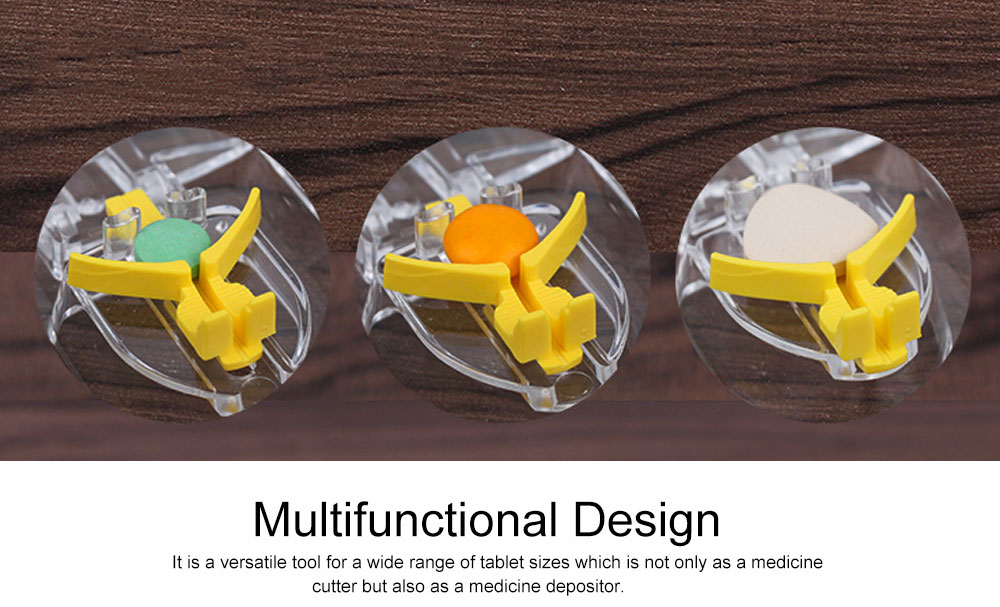 Pill and Tablet Cutter with Room for Storing Medication, Transparent Pill Cutter with Stainless Steel Blade 4