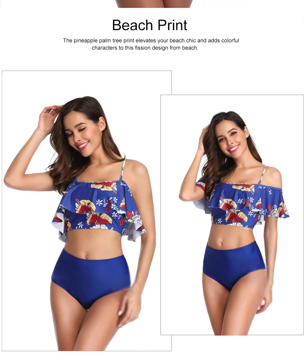 Backless Sexy Swimsuit with Printed Flounce & Fission Design, Cutout Sexy Bikini, Skin-friendly & Comfortable Bathing Swimsweart 4