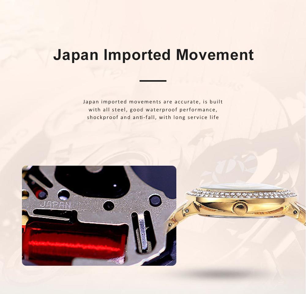 New Men Fashion Exquisite Waterproof Diamond Date Quartz Watch Gold Stainless Steel Business Luxury Mens Watches 2